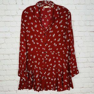 ANTHROPOLOGIE 11 1 TYLHO Tunic Top S Red Floral